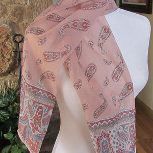 Vintage Sarah Coventry pink/blue scarf Signed